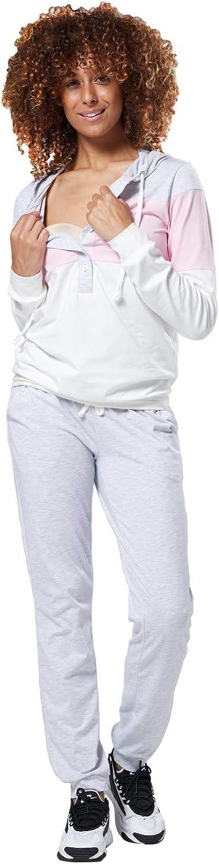 HAPPY MAMA Damen Mutterschaft Stillen Kapuze Trainingsanzug Jogger-Set 1068