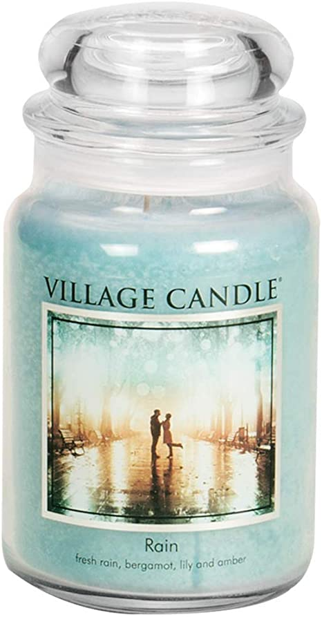 Amazon Com Village Candle Rain Large Glass Apothecary Jar Scented Candle 21 25 Oz Blue Home Kitchen