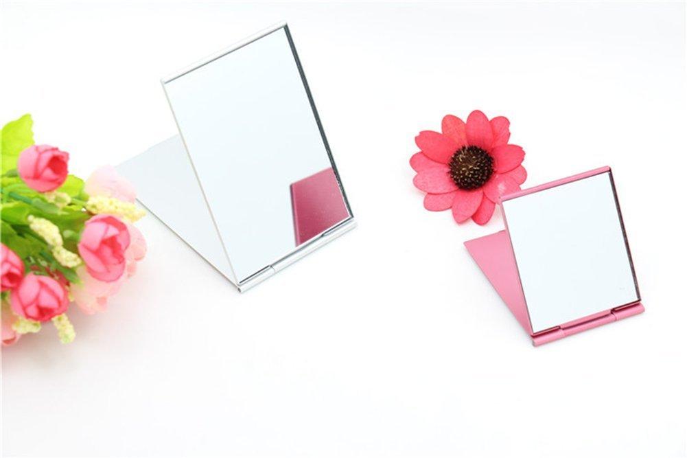 Ogquaton Schminkspiegel Taschenspiegel Damen Tragbarer Spiegel Kleiner Flacher quadratischer Spiegel Mini Handspiegel Reisespiegel Zuf/ällige Farbe Langlebig und n/ützlich