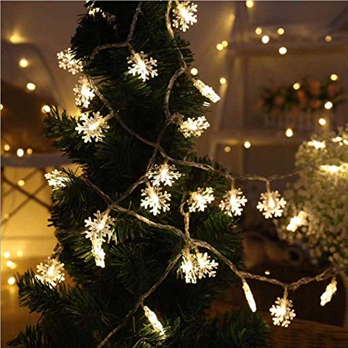 WesGen LED String Lights Christmas Snowflake Lights Battery Operated Waterproof 20ft, 40 LED Lights for Bedroom, Corridor, Patio, Garden, Yard, Photo Frame (Yellow)