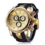 JIANGYUYAN Mens' Watches Unique Fashion Casual Business watchs Waterproof Sport Gold Large Dial(2.28in) Big Heavy Silicone Band Wrist Watch for Men Boys(Gold) N.W 0.159KG(0.35lb) relojes de Hombre