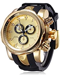 Mens Watches Unique Fashion Casual Business watchs Waterproof Sport Gold Large Dial(2.28in