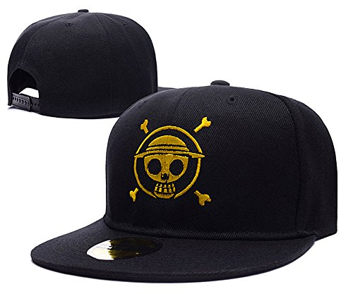 one-piece-luffy-logo-adjustable-snapback-caps-embroidery-hats-black-gold