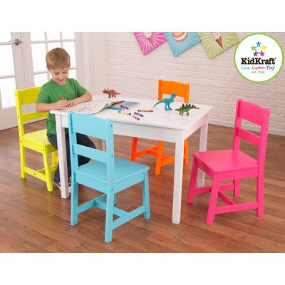 Highlighter Kids 5 Piece Table and Chair Set - 4 Chair Set Pastel