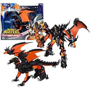 """Hasbro Year 2013 Transformers Prime """"Beast Hunters - Predacon Rising"""" Series Exclusive Ultimate Class 11 Inch Tall Robot Action Figure - BEAST FIRE PREDAKING with 21"""" Wingspan and Light Up Fire Breath Plus Infernum Blade and 2 Missile Launchers with 2 Missiles (Beast Mode: Fire Dragon)"""