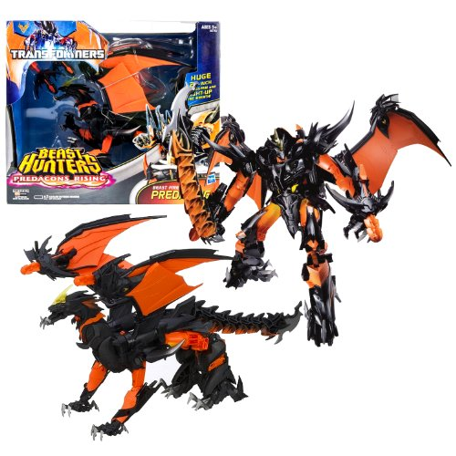 "Hasbro Year 2013 Transformers Prime ""Beast Hunters - Predacon Rising"" Series Exclusive Ultimate Class 11 Inch Tall Robot Action Figure - BEAST FIRE PREDAKING with 21"" Wingspan and Light Up Fire Breath Plus Infernum Blade and 2 Missile Launchers with 2 Missiles (Beast Mode: Fire Dragon)"