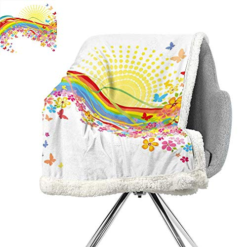 ScottDecor Rainbow Light Thermal Blanket,Colorful Flowers and a Rainbow with The Sun Behind Spring Time Lovely Art Style,Multicolor,Flannel Throw Blanket Lightweight Soft Warm Blanket W59xL31.5 Inch