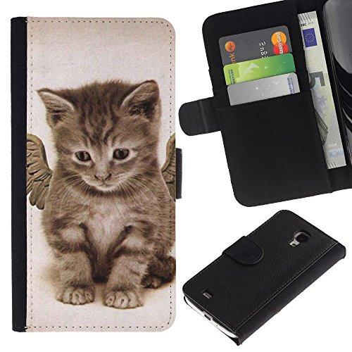EuroCase - Samsung Galaxy S4 Mini i9190 MINI VERSION! - angel kitten wings cute house cat pet - Cuero PU Delgado caso cubierta Shell Armor Funda Case Cover