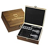 Premium Whiskey Stones Gift Set - Set of 10 All Natural Granite Beverage Chilling Rocks Includes 2 Whiskey Glasses, Velvet Bag, Tongs, and Elegant Wooden Box - For Whiskey, Vodka, Gin, Tequila