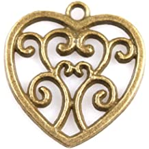 20pc vintage bronze heart shaped pendant zinc alloy charm findings