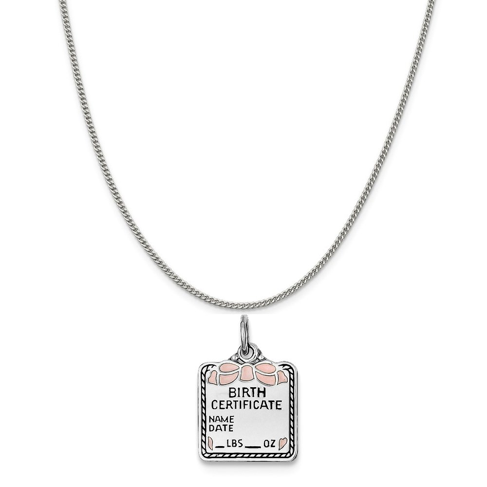 16-20 Mireval Sterling Silver Pink Birth Certificate Charm on a Sterling Silver Chain Necklace