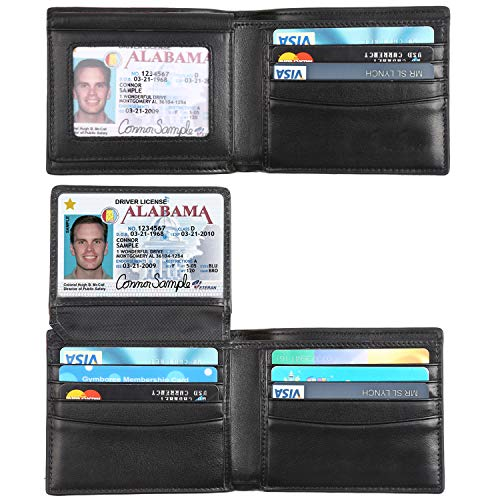 RFID Blocking Cowhide Leather Bifold Wallet for Men with 2 ID Windows(Carbon Fiber Leather Black) (Leather Wallet Medium Flap Black)