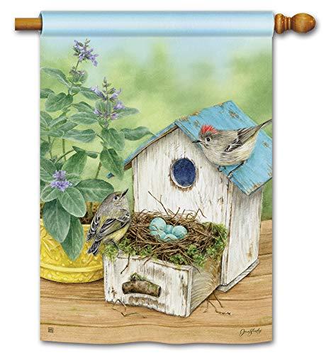 BreezeArt Studio M Birdhouse Nest Decorative Spring Summer Standard House Flag Banner - Premium Quality, 28 x 40 Inches ()