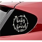Baby on board with Arrows Vinyl Decal Sticker (Beige)