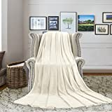 H.VERSAILTEX Luxury Super Soft and Comfort Fleece Blanket Lightweight Cozy Plush Microfiber Solid Travel Blanket for Kids, Breathable and Long lasting (90'' x 66'') - Twin Ivory