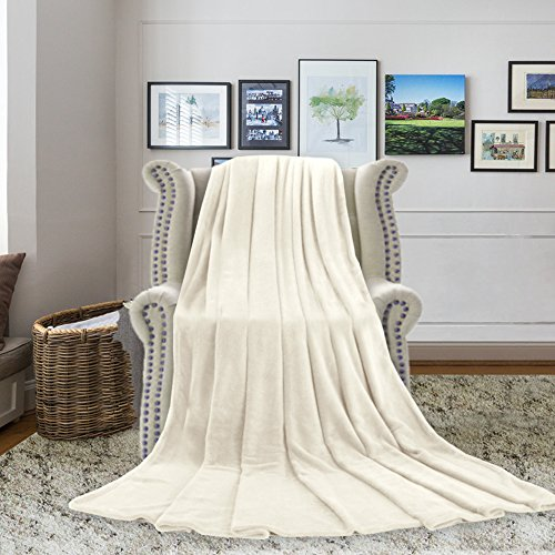 H.VERSAILTEX Blankets Queen Size 100% Premium Polar Fleece Blankets Extra Soft Brush Fabric for Bed/Couch/Car, Easy Care and No Shrinkage (Ivory, 90 - inch by 90 - inch)