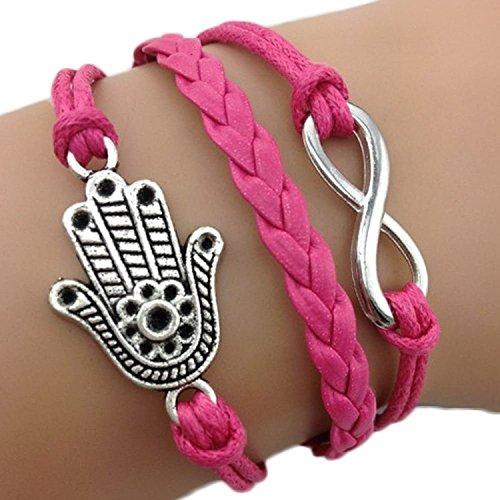 Bracelet main de Fatma couleur rose et lien infini argenté