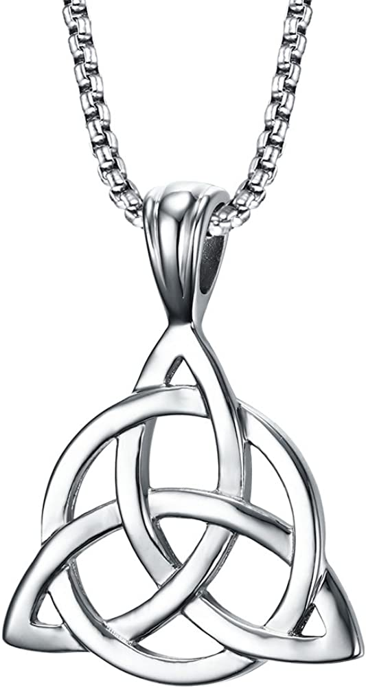 """PJ Jewelry Mens Stainless Steel Irish Celtic Knot Triquetra Trinity Triangle Pendant Necklaces with 24"""" Box Chain"""