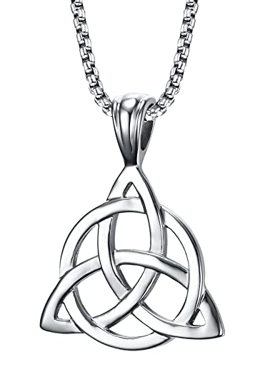 7308bdcac5820 Mealguet Jewelry Stainless Steel Irish Celtic Triquetra Triangle Trinity  Knot Pendant Necklaces for Men, 24
