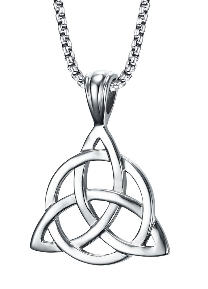 Mealguet Jewelry Stainless Steel Irish Celtic Triquetra Triangle Trinity Knot Pendant Necklaces for Men, 24'' Rolo Chain