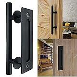 Bonnlo 12'' Sliding Barn Door Hardware Handle, Pull and Flush Door Handle Set (Black)