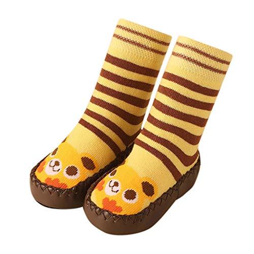 Shusuen_baby Toddler Socks Boys Girl Cartoon Moccasins Indoor Slippers Socks Non Skid Anti Slip Crew Socks with Grips Yellow