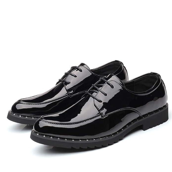 HILOTU Zapatos de Esmoquin para Hombre Zapatos de Boda de Charol Clásico Color Puro con Cordones Zapatos de Vestir de Negocios Formales Oxford: Amazon.es: ...