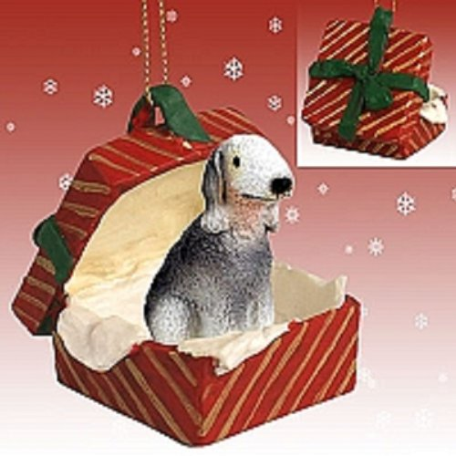 Conversation Concepts Bedlington Terrier Gift Box Red Ornament ()