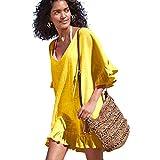 OMSJ Yellow Dresses Women Swimsuit Loose Cover ups Bikini Beach Tunic (M, Yellow)