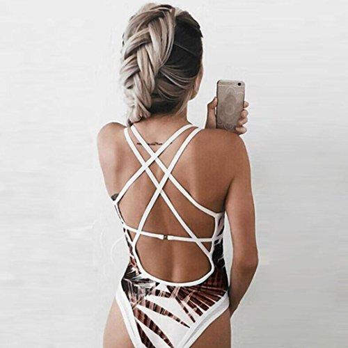 2018 gepolsterten Badeanzug Damen Badeanzug Bademode Push Neueste Bedruckter Badeanzug Bikini Frauen Monokini Kaffee Strand SHOBDW Up tqwOYq