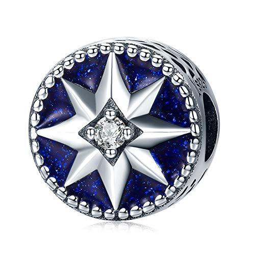 DALARAN Women's Silver Bead Charms Blue Enamel Star Charm Pendant Sterling Silver for Jewelry Making ()