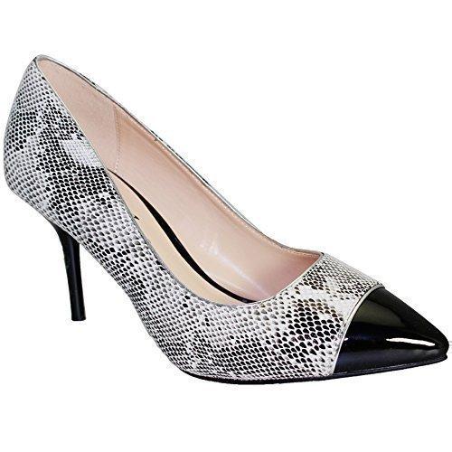 ZAFIRO Mujer Estampado De Serpiente En Punta mujer Tacón Bajo Charol Contraste Bolso De Mano Blanco (zapato)