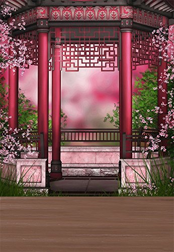 Laeacco 5X7FT Vinyl Backdrop Classical Pavilion Flowers Dreamy Photography Background Retro Architecture Pavilion Fairy Tale Garden Wedding Backdrop Festival Backdrop Photo Studio Props]()
