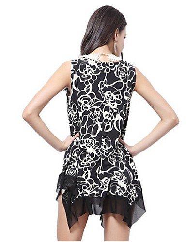 PU&PU Robe Aux femmes Mousseline de Soie Simple,Fleur Col Arrondi Au dessus du genou Polyester , black-l , black-l