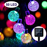 Solar Lights Garden, 50 LED Outdoor String Lights Multi-Coloured Crystal Ball Fairy Lights 24Ft Waterproof Decorative Lighting for Garden, Patio, Yard, Christma