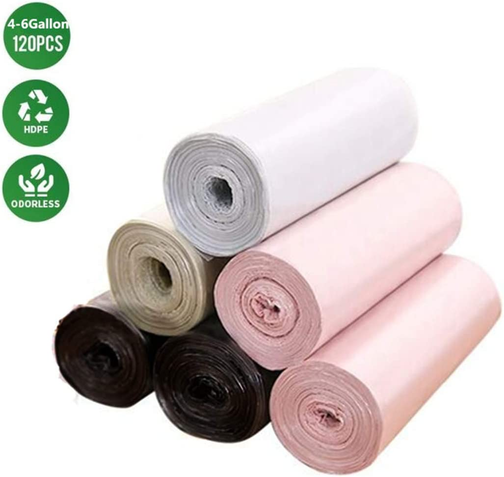 Small Trash Bag, Gallon Garbage Bags Bathroom Trash can Liners for Bedroom Home Kitchen 120 Counts 6 Pack