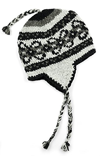 TCG Men's Hand Knit Wool Vintage Pattern Sherpa Hat - Pewter & Charcoal