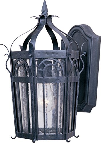 edral 1-Light Outdoor Wall Lantern, Country Forge Finish, Seedy Glass, MB Incandescent Incandescent Bulb , 100W Max., Dry Safety Rating, Standard Dimmable, Glass Shade Material, 5750 Rated Lumens (Maxim Iron Chandelier)