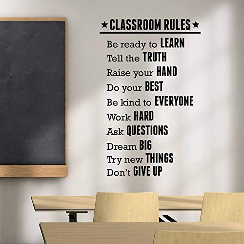 Natrire Classroom Rules Wall Sticker School Classroom Decoration Study Education Motivational Vinyl - Penn Bathroom State Mirrors