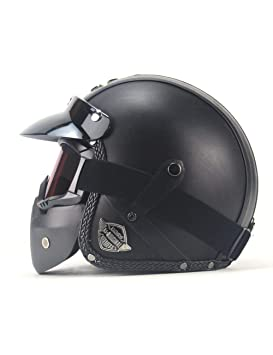 ZYear Casco De La Motocicleta Cara Completa Cascos Harley para Hombres Casco De Cuero Hecho A