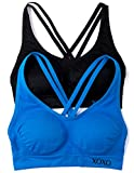 XOXO Juniors 2 Pack Cross Back Comfort Sports Bra with Removable Pads (Large, Black/Cobalt)