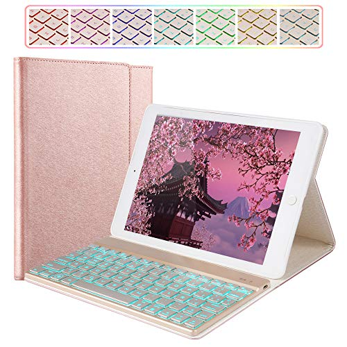 iPad Keyboard Case Compatible iPad 2018(6th Gen)/iPad 2017(5th Gen)/iPad Pro 9.7/iPad Air 2 & Air 1,Smart Cover,Wireless Bluetooth 7 Color Backlit, iPad Case with Keyboard (9.7, Rose Gold)