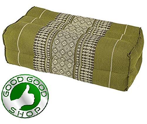 (Good Good Shop, Meditation,Yoga Block Pilates Brick Eco-Friendly Organic and Natural, 14x6x4 inches, Kapok, Bolster, Floor Pillow, Small Block (Green))