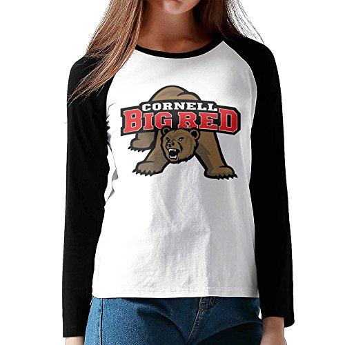 - Ahey Lady's Raglan Cornell Big Red University Custom Tee Black L