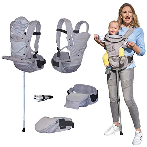 Mamapod All Position 360 Baby Carrier with Support Pole, Adjustable Newborn to Toddler Carrier, Toddler to Infant Baby Carrier with Hip Seat, Comfortable Baby Carrier Backpack with Support Pole