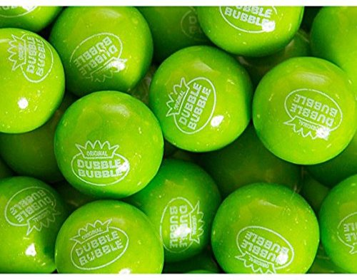 Dubble Bubble Green Apple Gumballs 1 Pound Bulk----With Mystery Stickers & Mystery Bouncy Ball