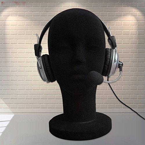 CHoppyWAVE Mannequin Head, Foam Female Mannequin Head Manikin Headset Model Wig Hair Display Stand - Black