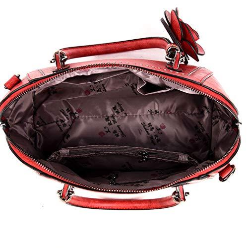 Cartable portés portés main à Couleur Sacs Noir à bandoulière Lotus menotte Femme Sacs main DEERWORD Sacs Sac V2 Faux Sacs Cuir épaule de EA78K