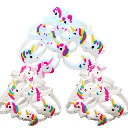 Unicorn Bracelets, 24 Pcs Creative Cartoon Unicorn PVC Bracelet Party Wristbands Toy for Children Birthday Party Favor from Millys