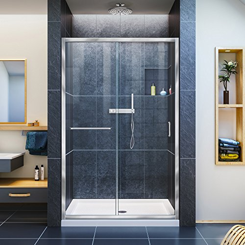 DreamLine Infinity-Z 36 in. D x 48 in. W Kit, with Sliding Shower Door in Chrome and Center Drain White Acrylic Base